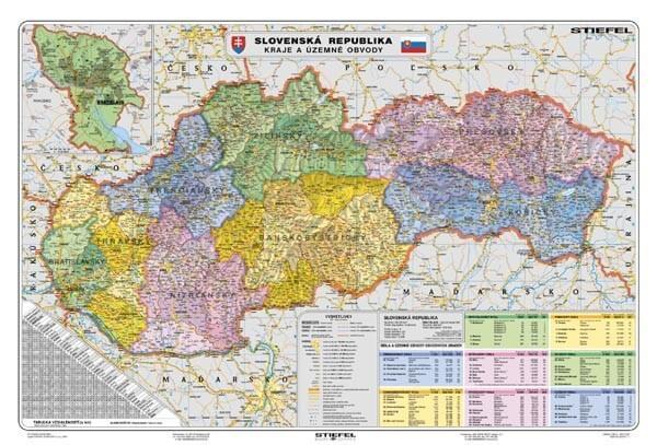 Slovensko - administratívní členění - kraje, 135 x 100cm